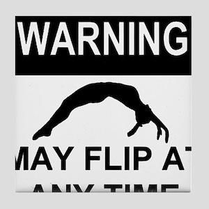 Warning may flip gymanstics Tile Coaster