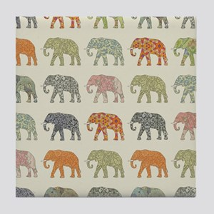 Elephant Colorful Repeating Pattern D Tile Coaster