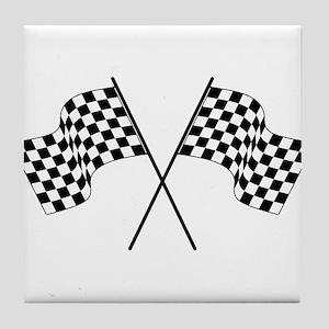racing car flags Tile Coaster