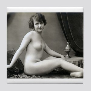 Vintage Nude With Dirty Foot Tile Coaster