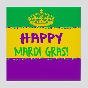 Happy Mardi Gras Crown and Beads Tile Coaster