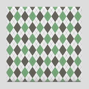 Green: Argyle Pattern Tile Coaster