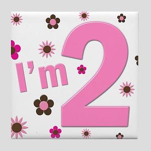 """I'm 2"" Pink & Brown Flowers Tile Coaster"