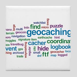 Geocaching Word Cloud Tile Coaster