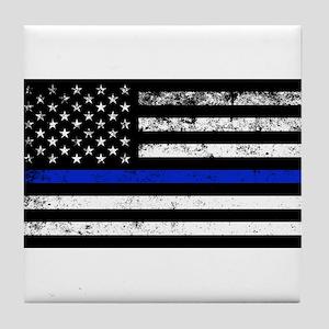 Horizontal style police flag Tile Coaster