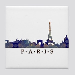 Mosaic Skyline of Paris France Tile Coaster