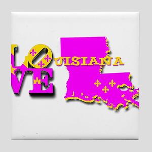 LOUISIANA LOVE PURPLE GOLD Tile Coaster