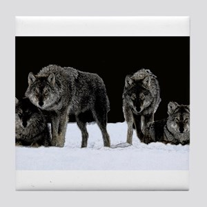 Dark Wolves Tile Coaster