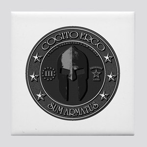 I THINK, THEREFORE I AM ARMED Tile Coaster