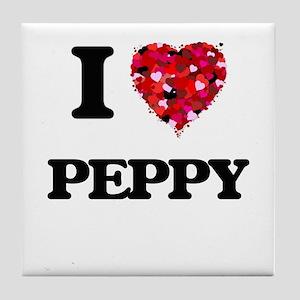 I Love Peppy Tile Coaster
