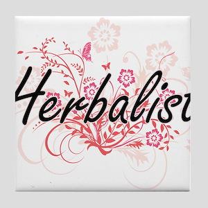Herbalist Artistic Job Design with Fl Tile Coaster