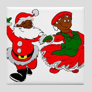 black santa mrs claus Tile Coaster