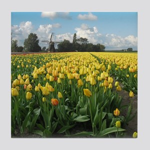 Dutch Windmill Yellow Tulips Flowers Holland Tile