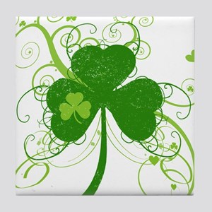 St Paddys Day Fancy Shamrock Tile Coaster
