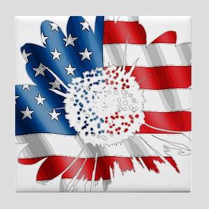 Patriotic Sunflower Tile Coaster