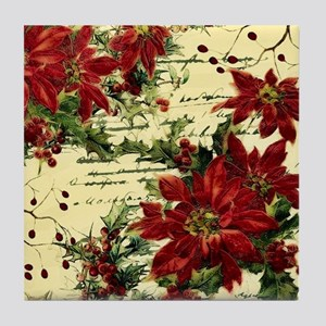 Vintage poinsettia and holly Tile Coaster