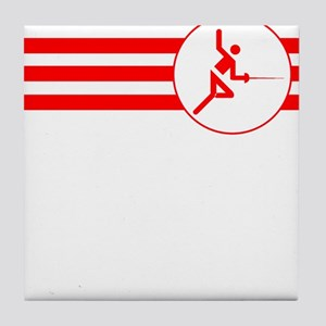 Fencer Stripes (Red) Tile Coaster