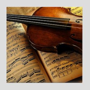 Violin On Music Sheet Tile Coaster