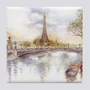 Eiffel Tower Painting Tile Coaster