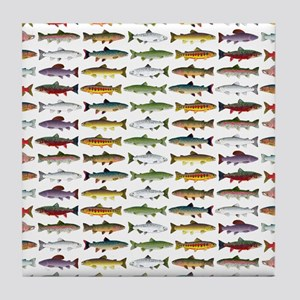 14 Trout and Salmon Pattern cp Tile Coaster