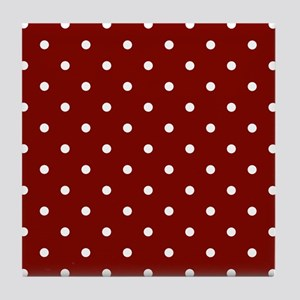 Red, Maroon: Polka Dots Pattern (Smal Tile Coaster