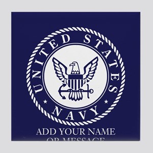 PERSONALIZED US Navy Blue White Tile Coaster