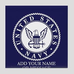 PERSONALIZED US Navy Blue White Tile Coaster