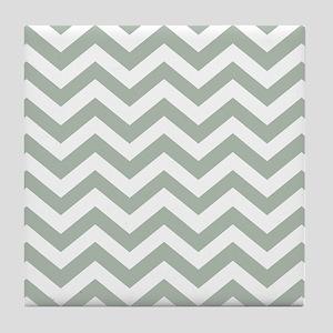 Chevron Zig Zag Pattern: Sage Green Tile Coaster