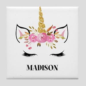 Unicorn Face Eyelashes Personalized Gift Tile Coas