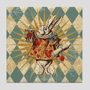 Alice White Rabbit Vintage Tile Coaster