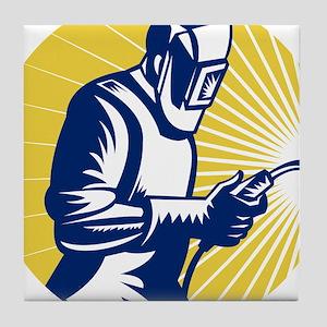 welder welding worker Tile Coaster