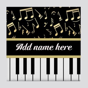 Personalized Piano and musical notes Tile Coaster