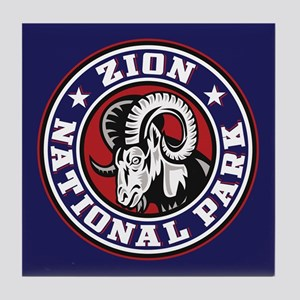 Zion Ram Circle Tile Coaster