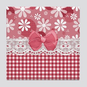 Pretty Pink Gingham Daisies Tile Coaster