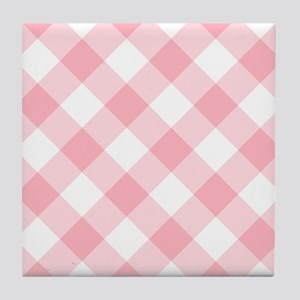 Light Pink and White Gingham Tile Coaster