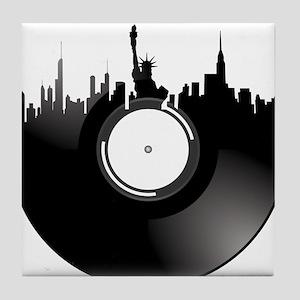 New York City Vinyl Record Tile Coaster