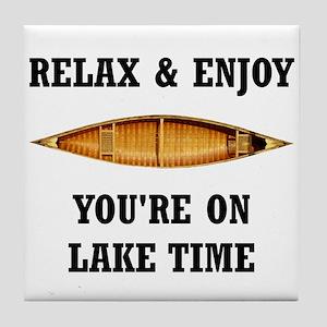 On Lake Time Tile Coaster