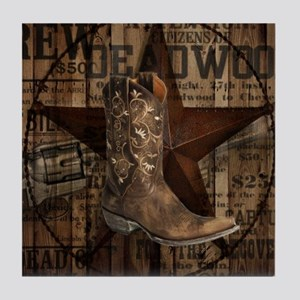 western cowboy Tile Coaster