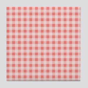Coral Pink White Gingham Tile Coaster
