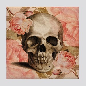 Vintage Rosa Skull Collage Tile Coaster