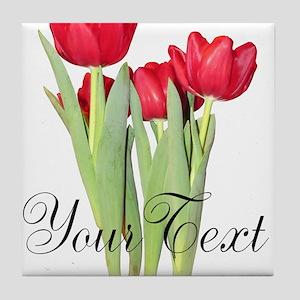 Personalizable Tulips Tile Coaster