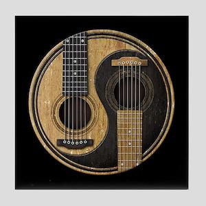 Old and Worn Acoustic Guitars Yin Yang Tile Coaste