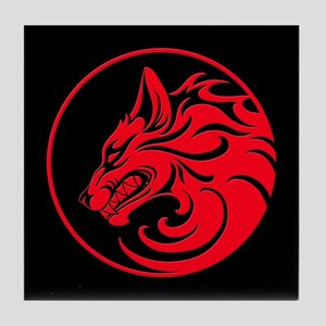 Growling Red and Black Wolf Circle Tile Coaster