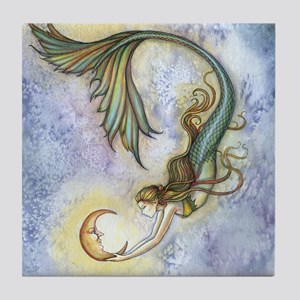 Deep Sea Moon Mermaid Fantasy Art Tile Coaster