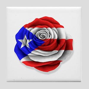 Puerto Rican Rose Flag on White Tile Coaster