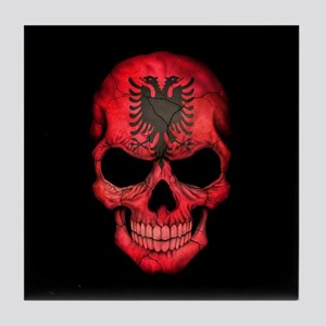 Albanian Flag Skull on Black Tile Coaster