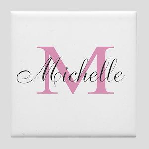 Personalized pink monogram Tile Coaster
