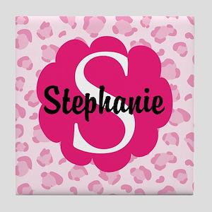 Personalized Pink Name Monogram Gift Tile Coaster