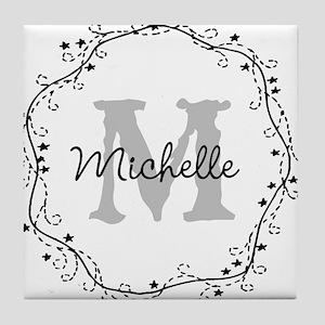 Personalized vintage monogram Tile Coaster