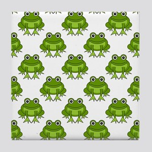 Cute Happy Frog Pattern Tile Coaster